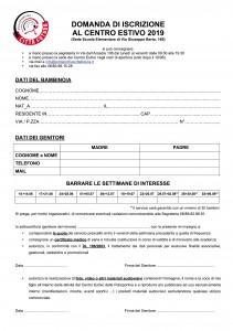 Modulo di Iscrizione Centro Estivo 2019